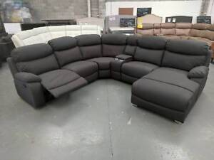 SALE - Steel Colour Fabric Recliner Lounge with chaise $1699 Eumemmerring Casey Area Preview
