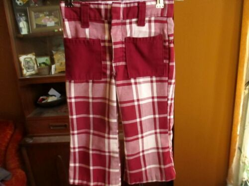 21x12 3T Boys GIRLS Vtg 70s Burgundy PLaid Checker Bellbottom Play Jeans
