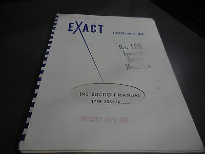 Exact Electronics Instruction Manual For Type 255 Function Generators 200 Series