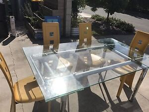 Glass Extendable Dining Table With Leather Chairs Maroochydore Maroochydore Area Preview