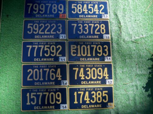 10 Delaware License Plates For Crafts or Collection Expired Tags