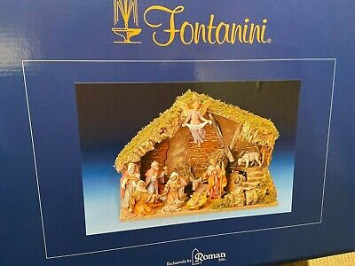 Fontanini 5 Inch Scale Full 11-Piece Nativity Set with Italian Stable-Manger