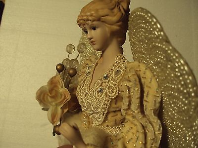 Tree Top Angel Christmas 16 inch with Porcelain head / hands Fur and lace Flower