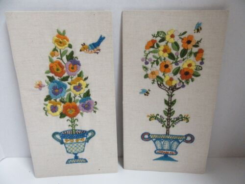 Set 2 Finished Crewel Embroidery Floral Topiary Birds Bees Completed 7x13