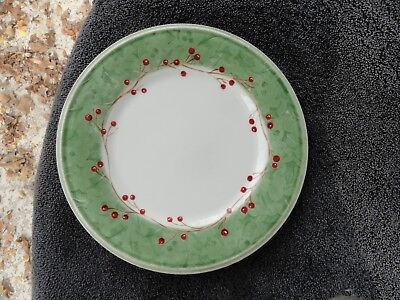 Rim Accent Plate (Lenox Holiday Gatherings Holiday Damask Green Rim Off White Accent Salad Plate )