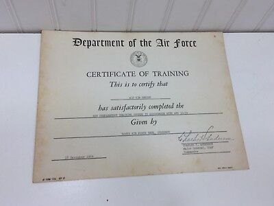 Vintage United States Air Force Certificate of Training 1964 24880  Department