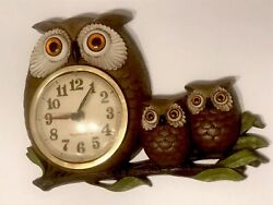 1972 New Haven Burwood Products Owl Family  Battery Operated Wall Quartz Clock