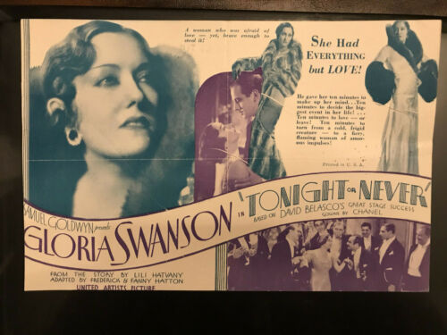 "Tonight or Never 1931 United Artists 6x9"" herald Gloria Swanson Melvyn Douglas"