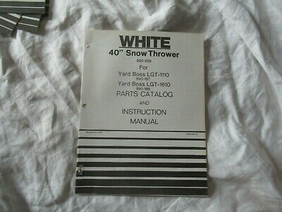 White 40 Snow Thrower Operators Instruction Manual And Parts Catalog