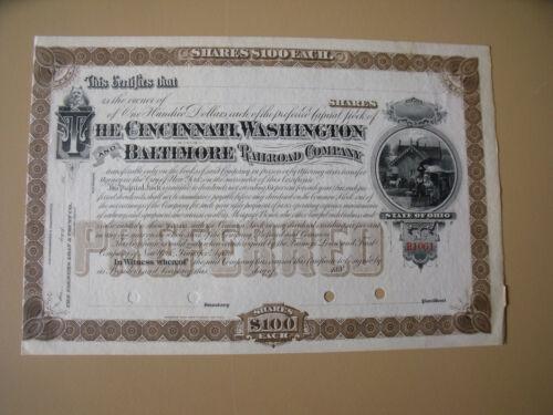 The Cincinnati, Washington and Baltimore Railroad Company STOCK CERTIFICATE