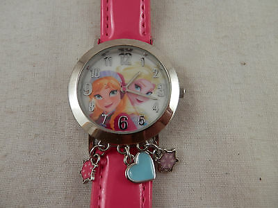 Disney Frozen Elsa & Ana Watch FNFAQ054 Charmed Watch  3 charms Pink band