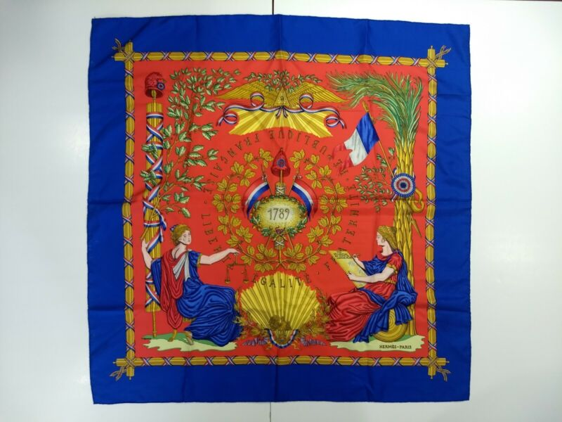"""Vintage HERMES 1789 French Liberty Equality, Blue Red Large Silk Scarf 36"""" x 36"""""""