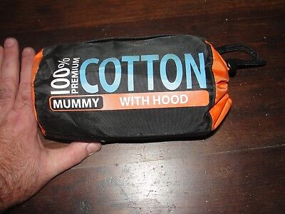 MUMMY cotton travel BAG NEW with hood SEA to SUMMKIT 100% w bag sleep bed liner