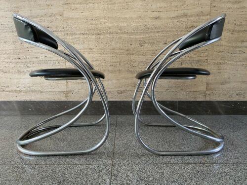 Vintage Chair Tubular Dining Mid Century Space Age Chrome Bauhaus Style Design