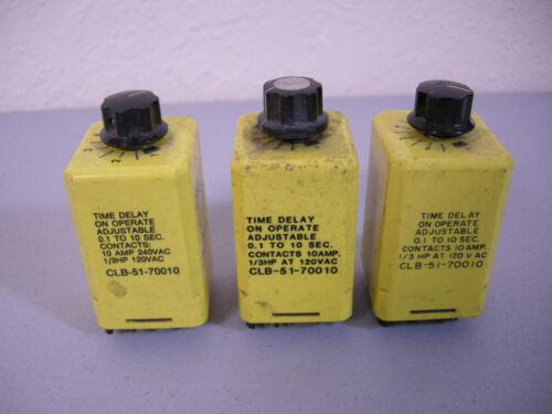 (3) Potter & Brumfield CLB-51-70010 Time Delay Relay 0.1-10 Sec. 120 VAC 1/3HP