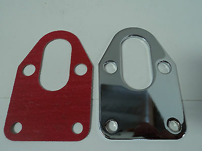 Fuel Pump Mounting Plate - SBC Chrome Fuel Pump Mounting Plate With Gasket 283 305 327 350 383 400 SB Chevy