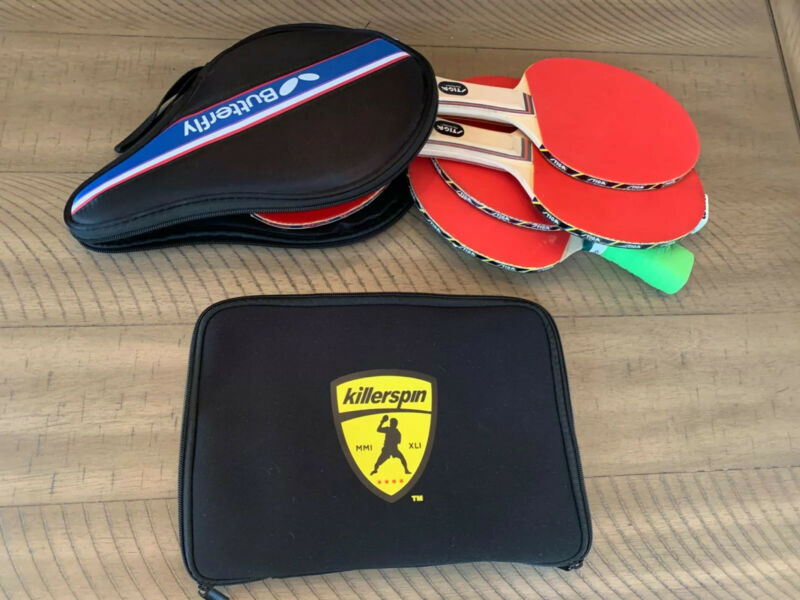 Lot of 6 Professional ping pong paddles. Killerspin, Original Butterfly, 4 Stiga