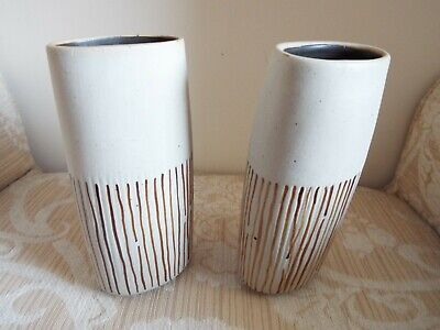 Pair of matching Habitat vases with labels still on, used condition