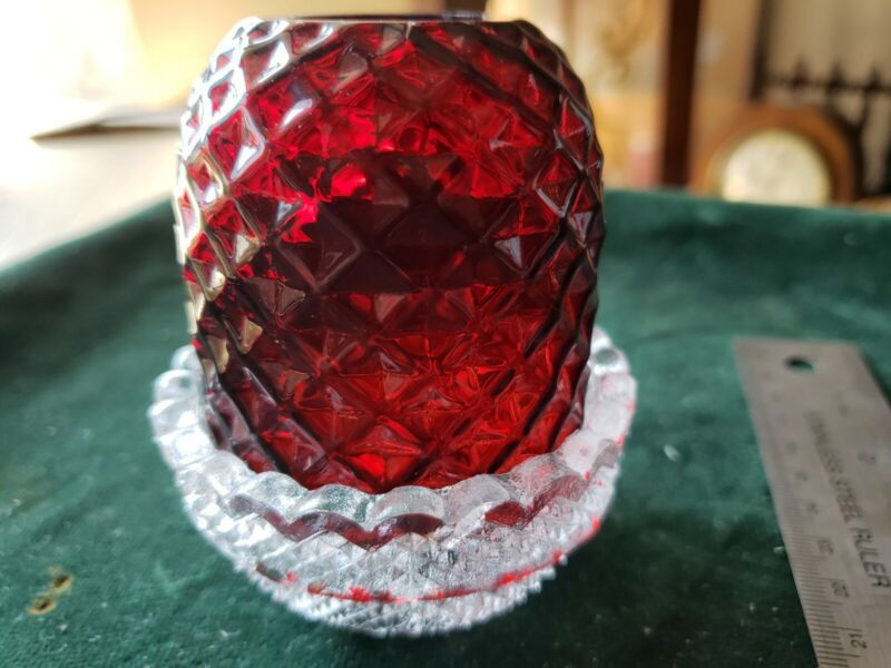ANTIQUE S CLARKE FAIRY LAMP, Ruby red COLOR FAIRY PYRAMID