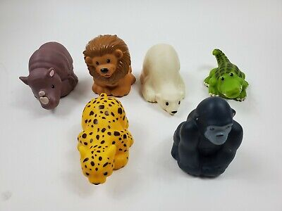 Fisher Price Little People Zoo Talkers Lot of 6 Animal Figures Elephant Cheetah