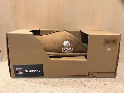 Cleveland Browns NFL Men's Tan Slide Slippers, Size XLarge 13/14, New In Box