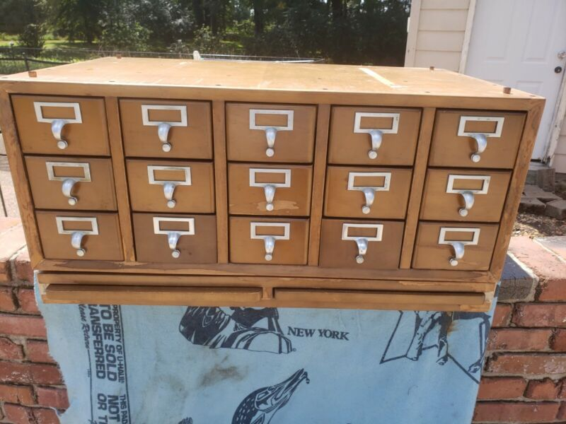 15 Drawer Card Catalog Wood File Cabinet with pull out writing shelves