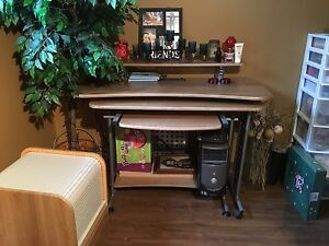 Desk and matching roll top filing cabinet