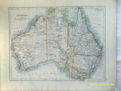 Double-sided Antique Map. AUSTRALIA with NEW SOUTH WALES and VICTORIA. 1895. VG.