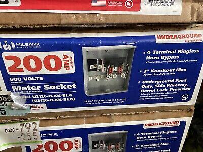 Milbank 200 Amp Underground Ringless Horn Bypass Meter Socket Type 3r List 253