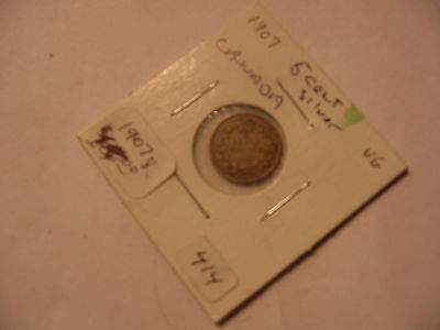 1907 CANADIAN NICKEL 5 CENTS CANADA COIN  SILVER