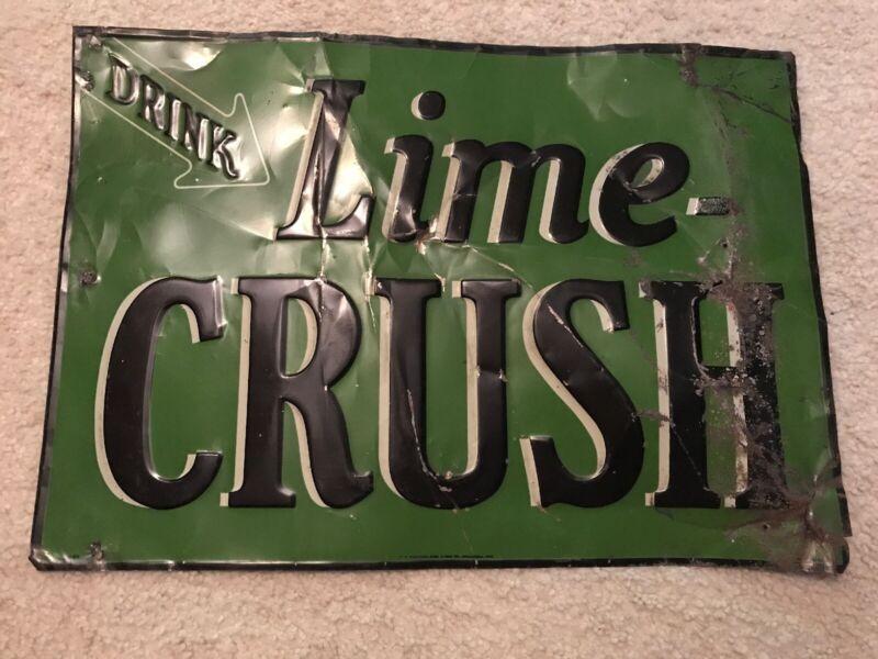 LIME CRUSH THIN TIN 1920's SIGN....RARE