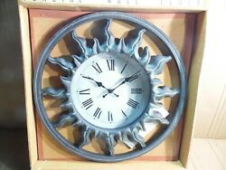 16 Sundial Round Clock Aged Bronze Antique Brass Finish Home Garden Patio NOS