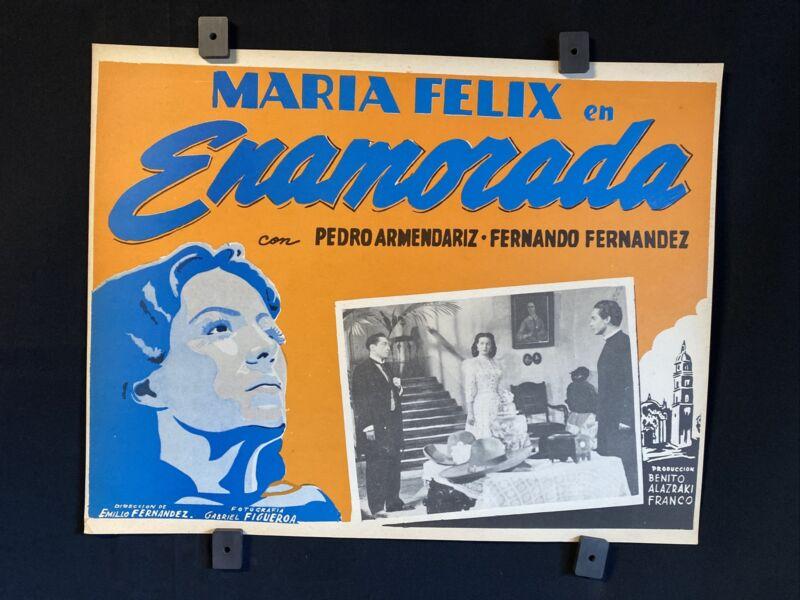 """1946 ENAMORADA Maria Felix & F.Fernandez Original Mexican Lobby Card Art 16""""x12"""""""