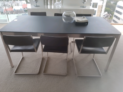 Designer Genuine leather dining table with 6 chairs