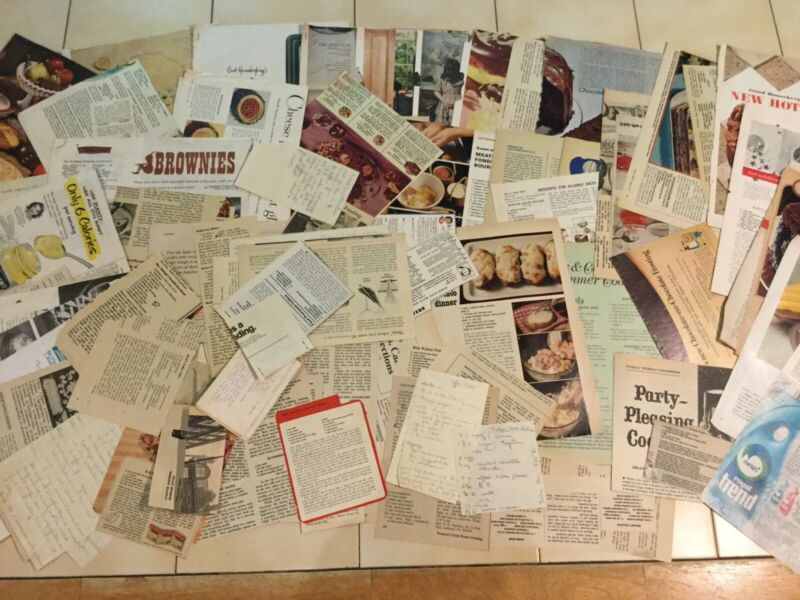 Vintage Recipe Magazine and Newspaper Clippings Some Handwritten (O-8)