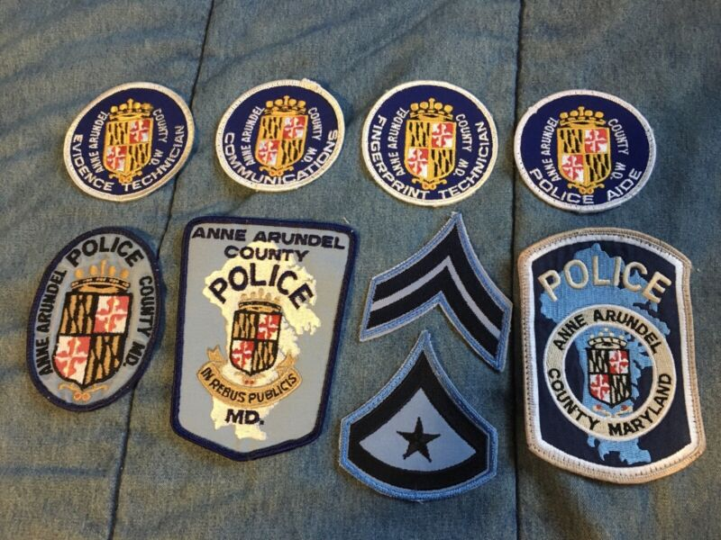 Collection of 9 ANN ARUNDEL COUNTY Maryland MD Police Embroidered Cloth PATCHES