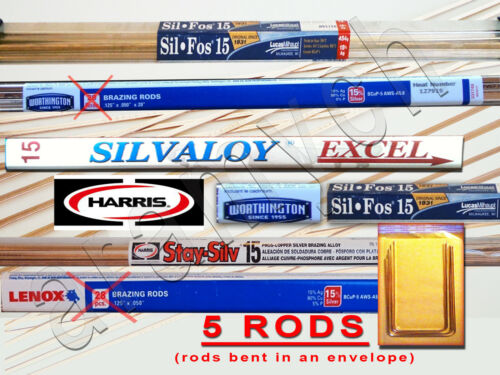 15% Silver Brazing Rods 5 RODS Sil-Fos, Worthington, Harris Stay-Silv, Lenox ...