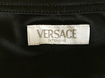 VERSACE BASIC T-SHIRT SOLID BLACK SIZE S VERSACE INTENSIVE COLLECTION STRETCH