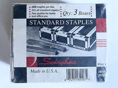 Lot 3 Boxes New Swingline Staples Standard Fit 5000 Per Box Model 74711-35103