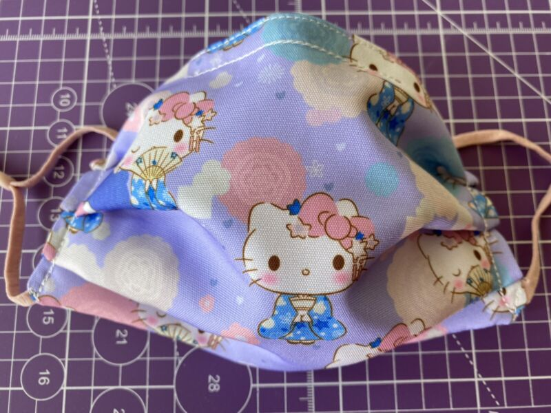 Hello Kitty Handmade Face Mask Adult Size 3 layer fabric Sanrio Kimono