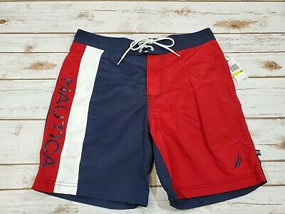 Nautica Men's Red White & Blue Lined Swim Trunks Shorts size Medium NEW