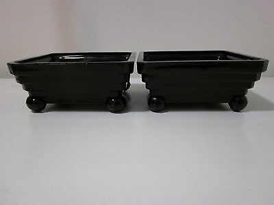 Vintage Art Deco Amethyst Black Glass planters w/ball feet - pair