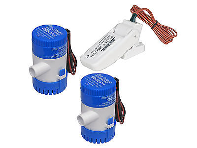 Set of (2) Marine Electric Bilge Pump 12V 500 GPH and (1) Automatic Float Switch