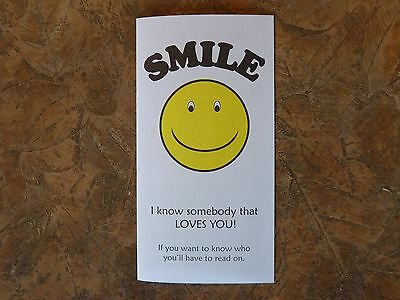 100 Smile Gospel Tracts - Share your faith - God  -Ships FREE in US