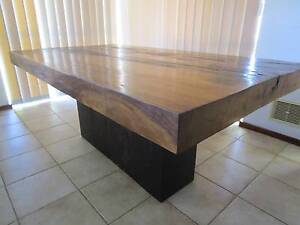 Beautiful, thick timber slab dining table + 6 free dining chairs Murdoch Melville Area Preview