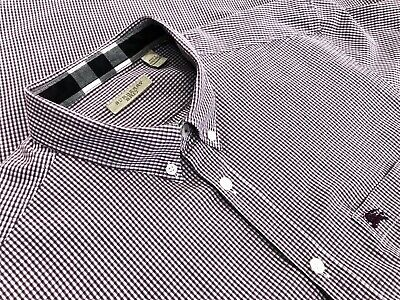 Burberry Brit Mens Long Sleeve Cotton Button Down Shirt Logo Purple Check Sz XL