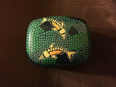 "Authentic Australian Tobwabba Aboriginal Art Trinket Box ""Dolphin At Play"""