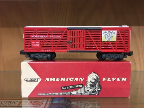 """American Flyer S Scale 24077 Northern Pacific """"Pig Palace"""" Stock Car EX+ OB"""