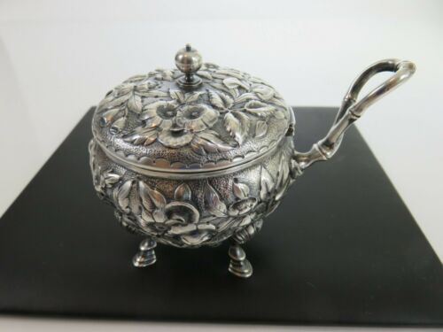 Fine Dominick & Haff Sterling Leafy Bamboo Flower Blossom Mustard Pot, c1878