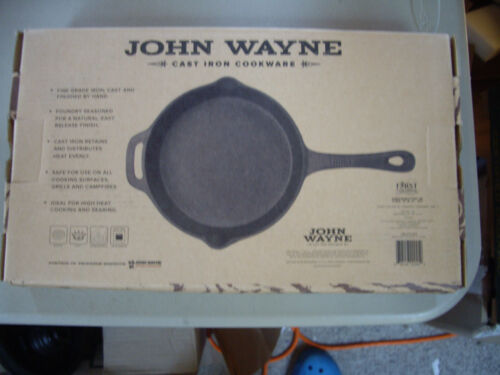 "John Wayne Cast Iron Cookware 10"" SQUARE GRILL Pan Foundry Seasoned NIB"